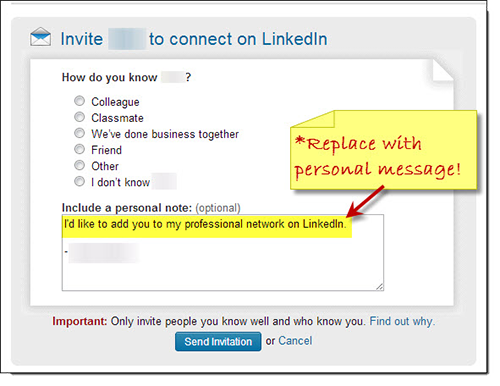 Customize LinkedIn Invitation